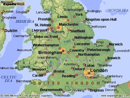 Map Of England Derbyshire.England