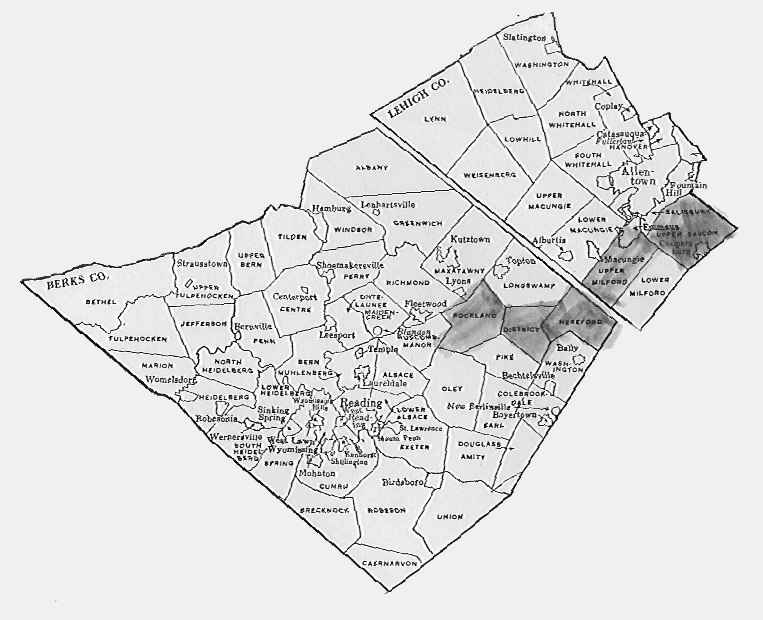 Townships of Berks and Lehigh Counties