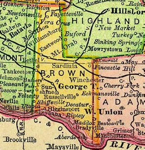 Ripley Ohio Map.Brown County Ohio History And Genealogy