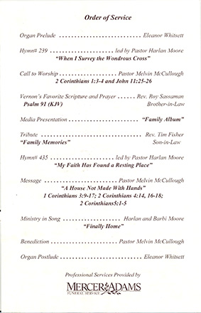 14-The order of service at Vernon's funeral